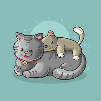 かわいい猫と子猫の怠惰な時間のイラスト