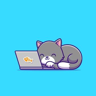 かわいい猫とラップトップ。動物技術