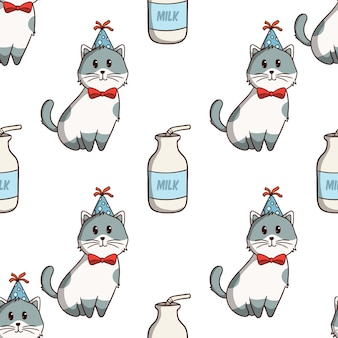 白い背景の上の色の落書きスタイルとシームレスなパターンでかわいい猫と牛乳