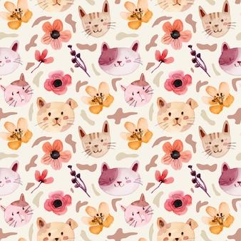 かわいい猫とミニ花の水彩画のシームレスなパターン
