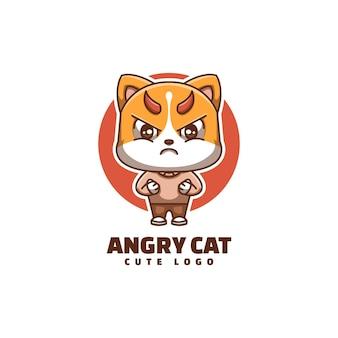 Cute cat angry face cartoon mascot logo