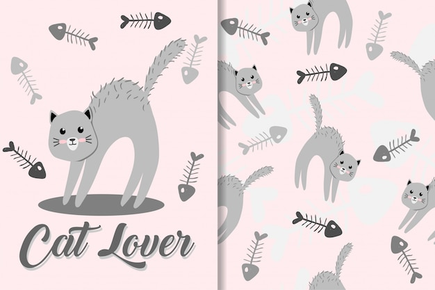 Cute cat animal hand drawn baby pattern set