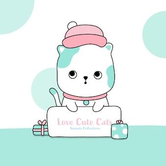 Cute cat animal hand drawn style