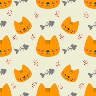 Cute cat animal vector seamless pattern background