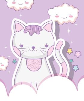Cute cat animal with kawaii clouds