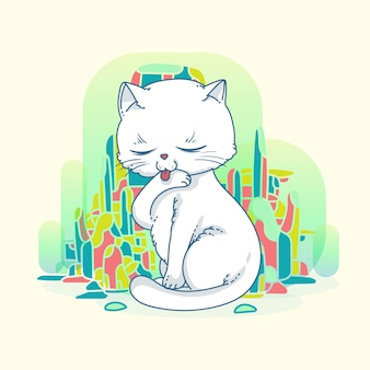 Cute cat art with abstrac background design