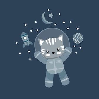 Милый кот космонавт мультфильм каракули иллюстрации