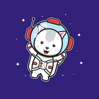 Милый кот-космонавт, летящий на космической иллюстрации значка шаржа. дизайн изолированные плоский мультяшном стиле