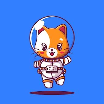 Cute cat astronaut icon cartoon illustration