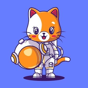 Cute cat astronaut icon illustration