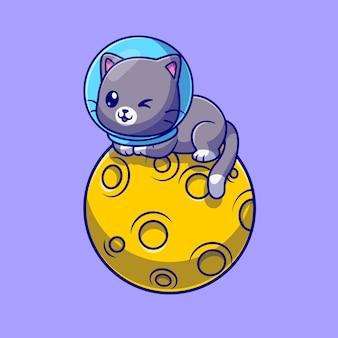 月に座っているかわいい猫の宇宙飛行士漫画ベクトルアイコンイラスト。動物科学アイコンコンセプト分離プレミアムベクトル。フラット漫画スタイル
