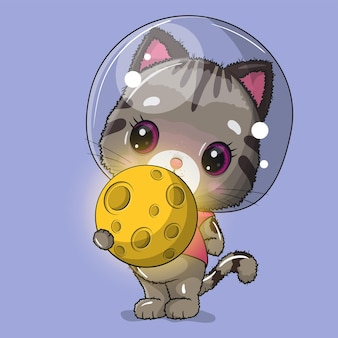 Cute cat astronaut with moon   illustration
