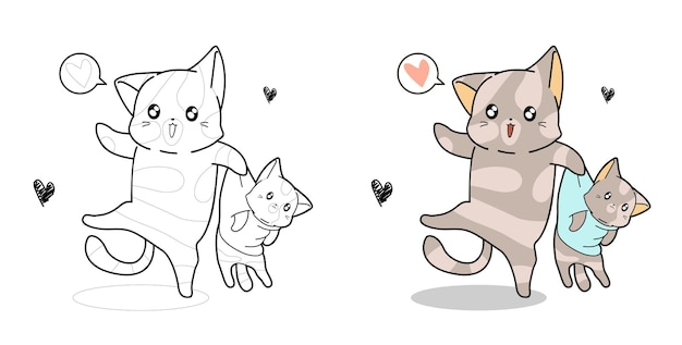 Cute cat and baby cat coloring page for kids
