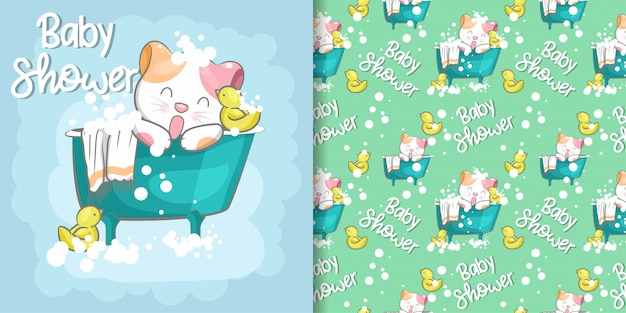 Cute cat baby shower seamless pattern and illustration card