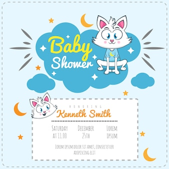 Cute cat baby shower theme invitation template