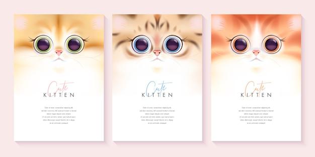 かわいい猫の背景テンプレートセット