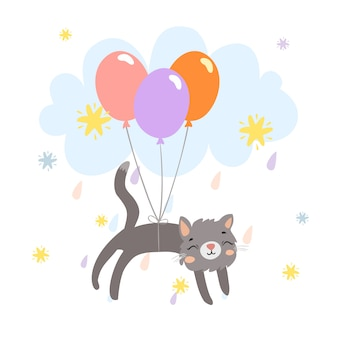 Cute cat on balloons in the sky
