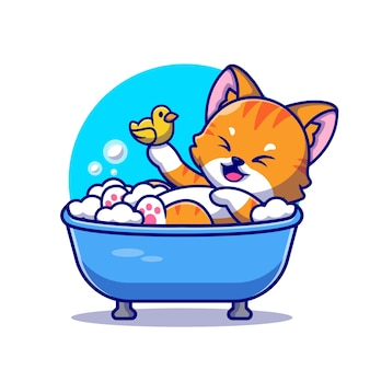 Cute cat bath in the bath tub with duck toys cartoon icon illustration.