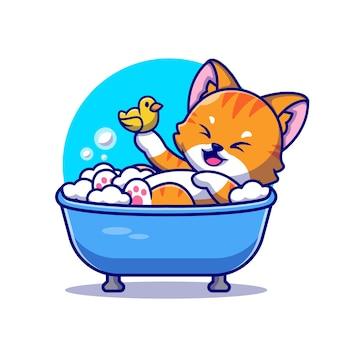 Милая кошка ванна в ванне с уткой игрушки мультфильм значок иллюстрации.