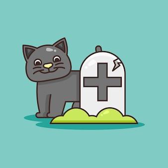 墓石のイラストの後ろにかわいい猫。