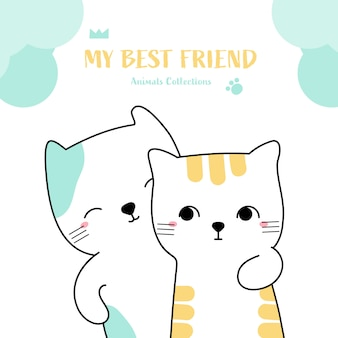 Cute cat best friend animal hand drawn style