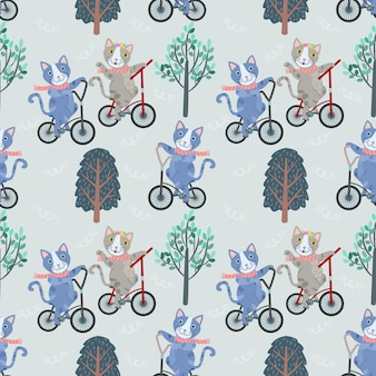 Cute cat on bicycle in garden seamless pattern.