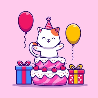 Cute cat birthday party with cake, gift and balloon cartoon