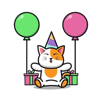 Cute cat birthday party with gift and balloon cartoon illustration