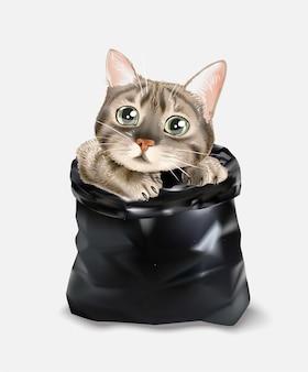 Cute cat in black trash bag illustration