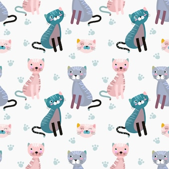 Cute cat on blue background seamless pattern fabric textile wallpaper.