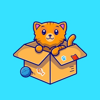 Cute cat in box cartoon character. animal nature isolated.
