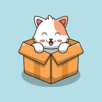 Cute cat in box   icon illustration