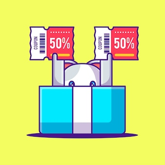 Cute cat in a box with discount coupon cartoon illustration. animal and flash sale flat cartoon style concept