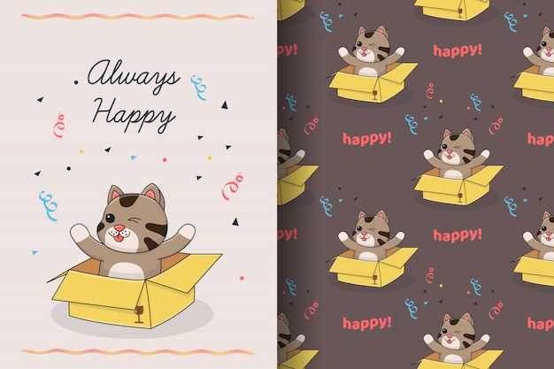 Cute cat on box with seamless pattern and card