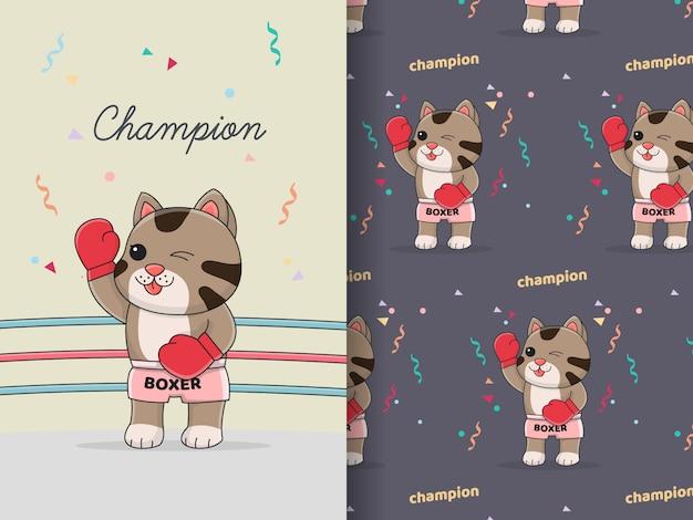 Милый кот боксер связка бесшовные модели и карты