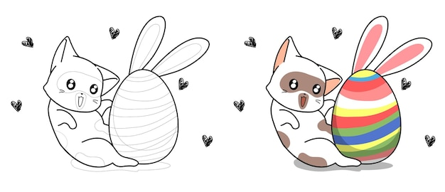 Cute cat and bunny egg for easter day cartoon coloring page for kids