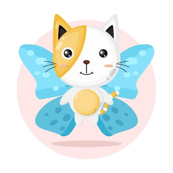 Cute cat butterfly character