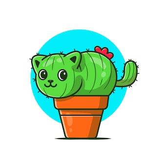 Cute cat cactus cartoon icon illustration.