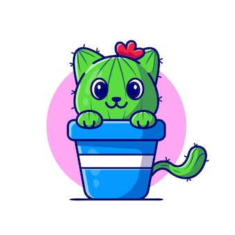 Cute cat cactus cartoon icon illustration.
