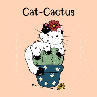 Cute cat cactus in pot with flower hand drawing with lettering cat cactus.