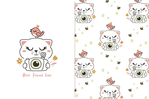 Cute cat and camera pattern
