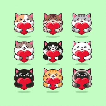 Cute cat care emoticon hugging a red heart