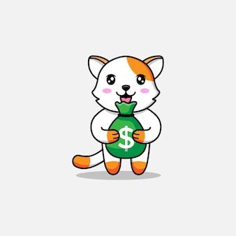 Милый кот, несущий сумку с деньгами