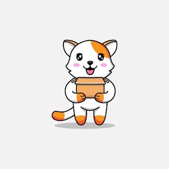 Милый кот, несущий картон
