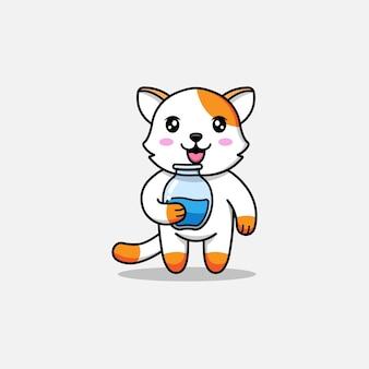 Милый кот, несущий банку с водой