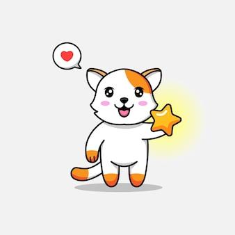 Милый кот с яркой звездой