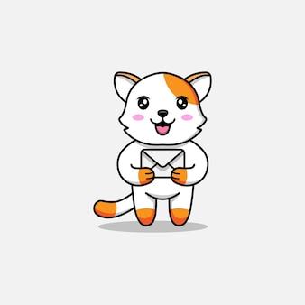 Милый кот с конвертом