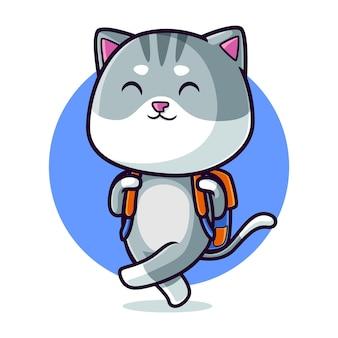 Cute cat carrying a bag cartoon
