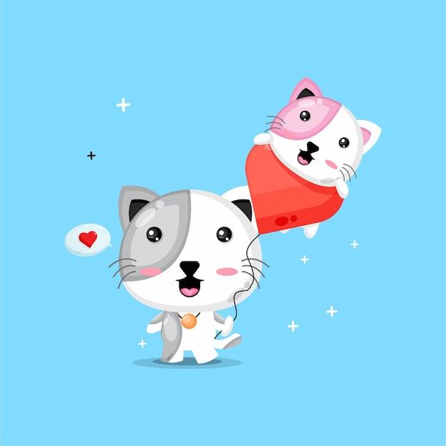 愛の風船を運ぶかわいい猫