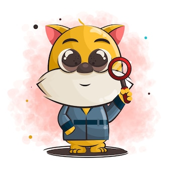 Cute cat cartoon become detective